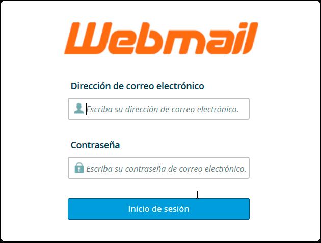 Pantalla de Acceso al Correo Webmail de Cpanel