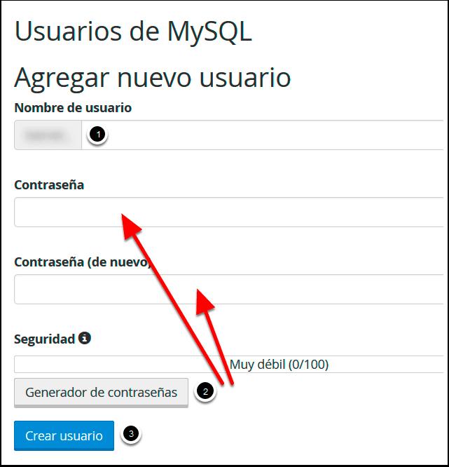 Crear el usuario MySQL en cPanel