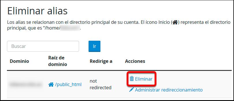 Eliminar alias de redireccion en un dominio aparcado