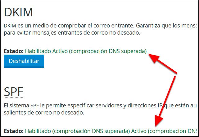 Habilitar DKIM y SPF Cpanel