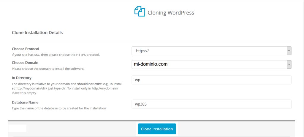Clonar web WordPress Softaculous