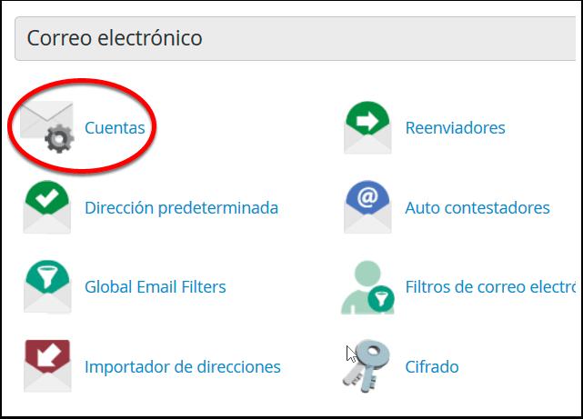 Acceso desde cPanel para crear una cuenta de correo electronico