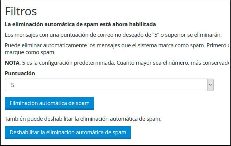 Eliminación automatica de spam
