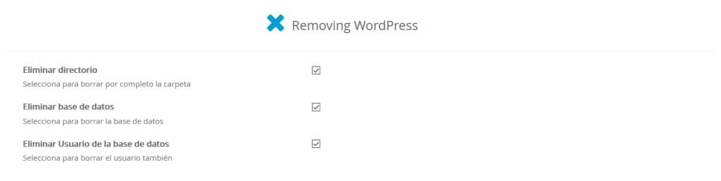 Eliminar instalación WordPress