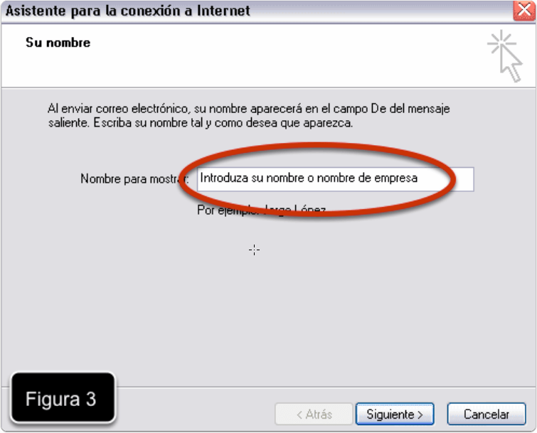 Introducimos nuestro nombre en Outlook Express
