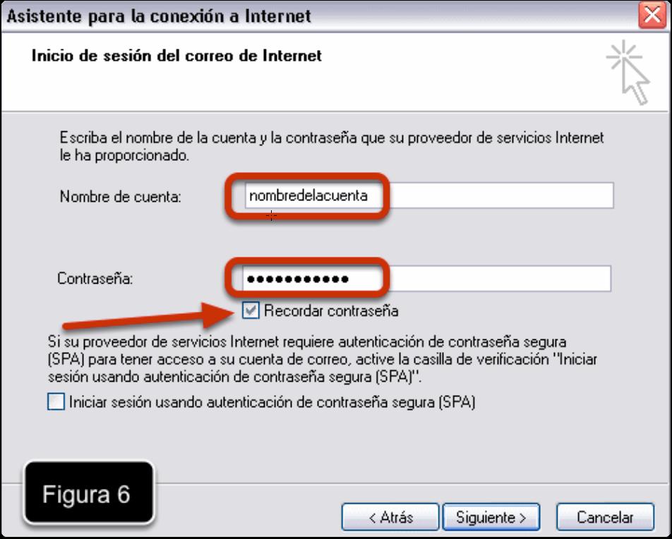Nombre de la Cuenta y Contraseña en Outlook Express