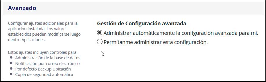 Opciones avanzadas de la instalacion de Joomla