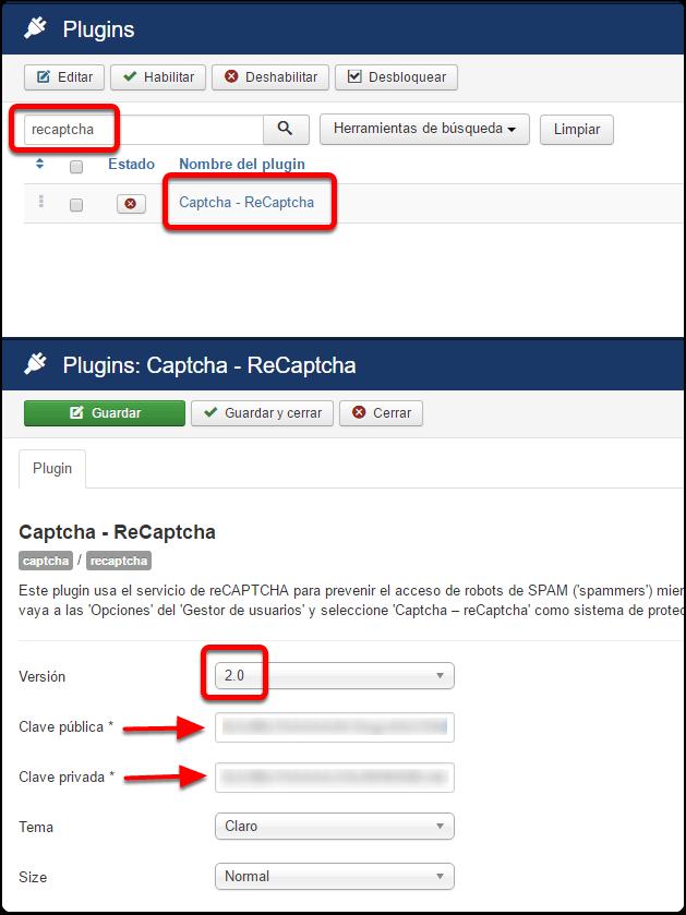 Activación del plugin reCAPTCHA