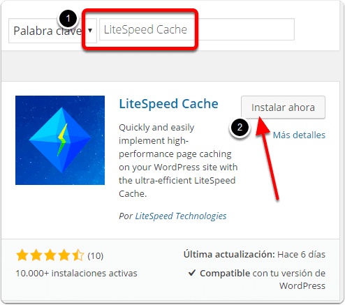 Instalación del Plugin LiteSpeed Cache para WordPress