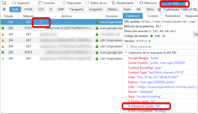 Ver las cabeceras HTTP en Firefox