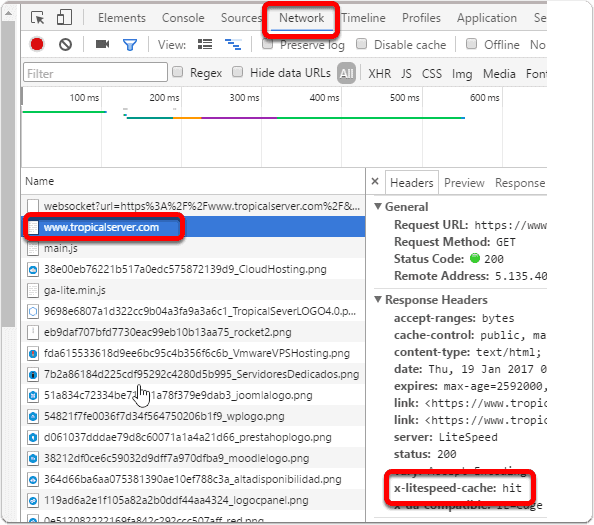 Ver las cabeceras HTTP en Google Chrome