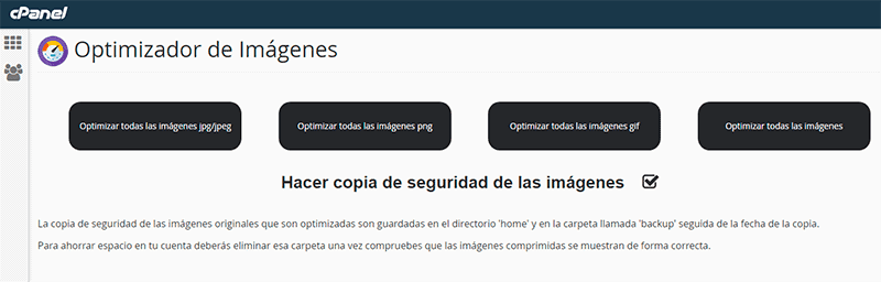 Image Optimizer cPanel Opciones