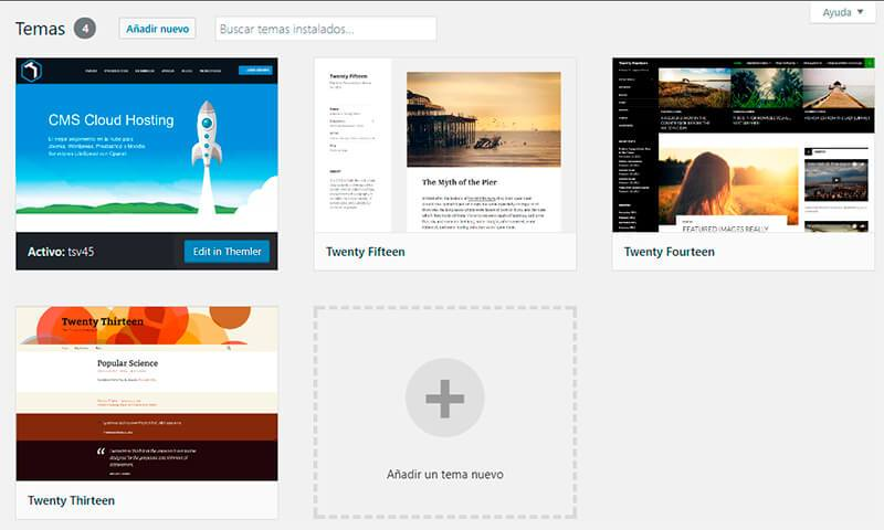 Cambiar el theme de WordPress