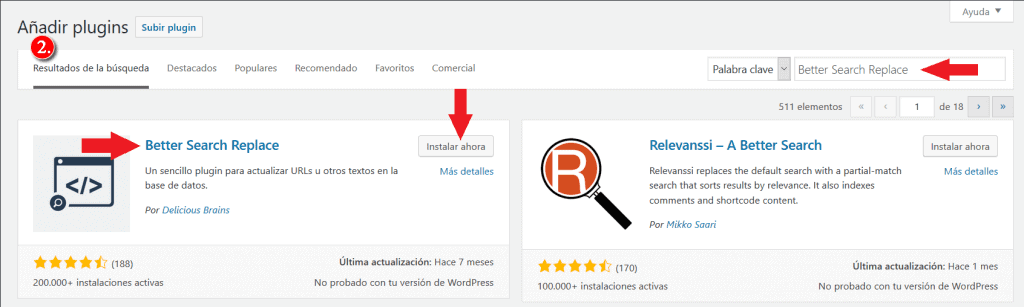 Instalacion de Better Search Replace