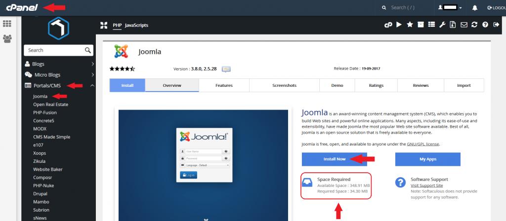 Instalación de Joomla paso 1