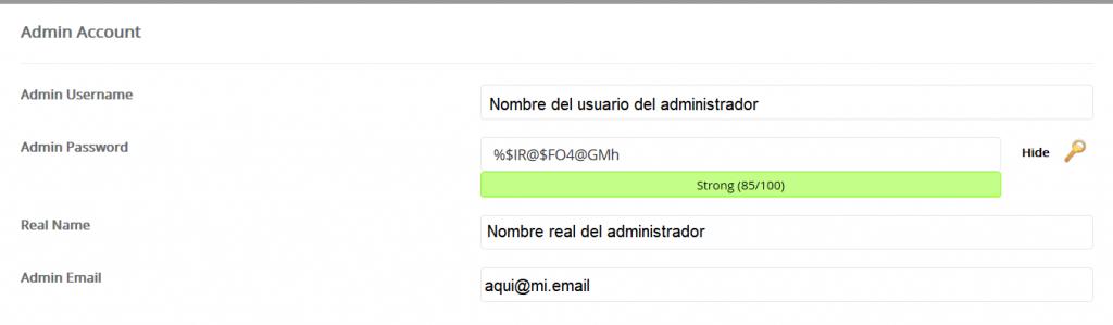 datos de acceso a la administracióncon el nombre usuario administrador