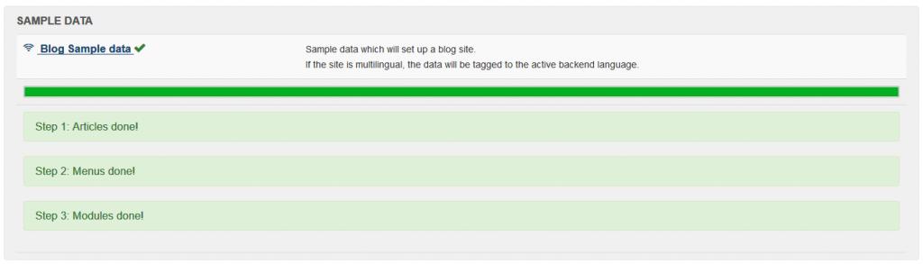 Instalación datos ejemplo finalizados