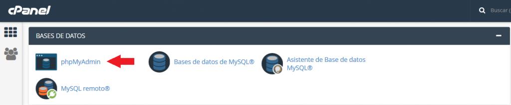 Acceso a phpMyadmin desde Cpanel