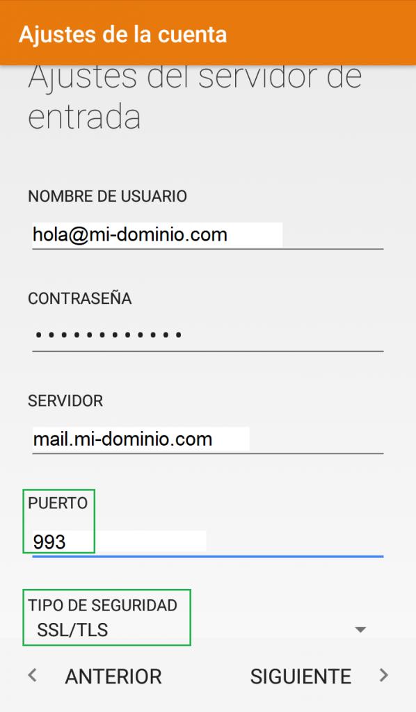Cómo configurar una cuenta de correo en Android Paso 4: Servidor de Entrada