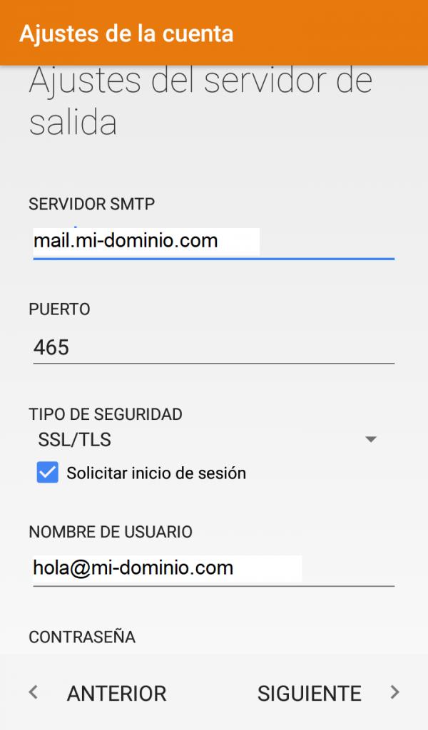 Cómo configurar una cuenta de correo en Android Paso 5: Servidor Saliente