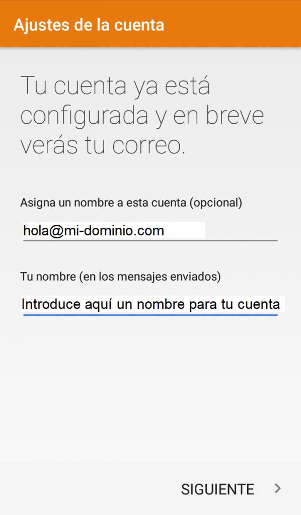 Cómo configurar una cuenta de correo en Android Paso 7: Nombre de la Cuenta