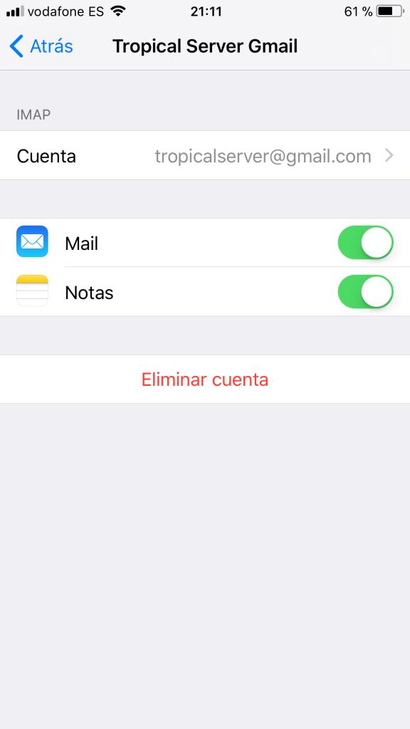 Cambiar datos cuenta correo una vez creada