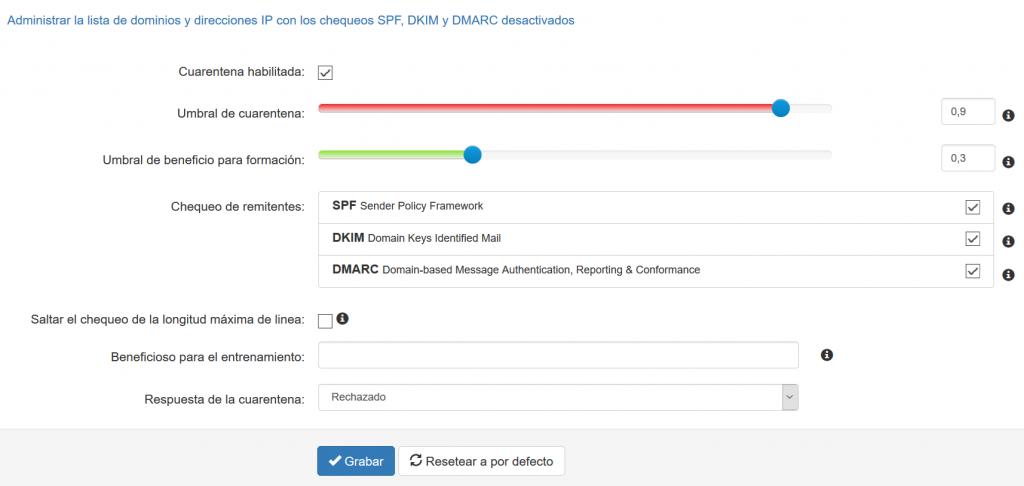 Configuración de filtrado SpamExperts