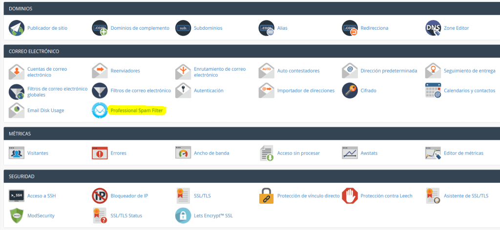 Professional Spam Filter cPanel enlace