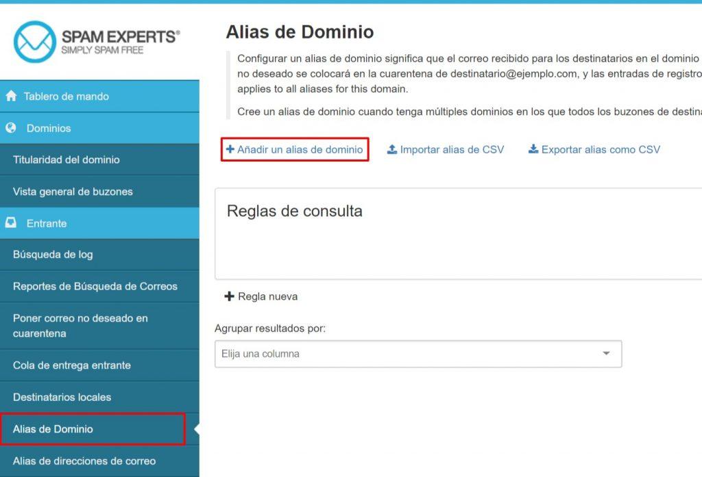 SpamExperts Alias de Dominio
