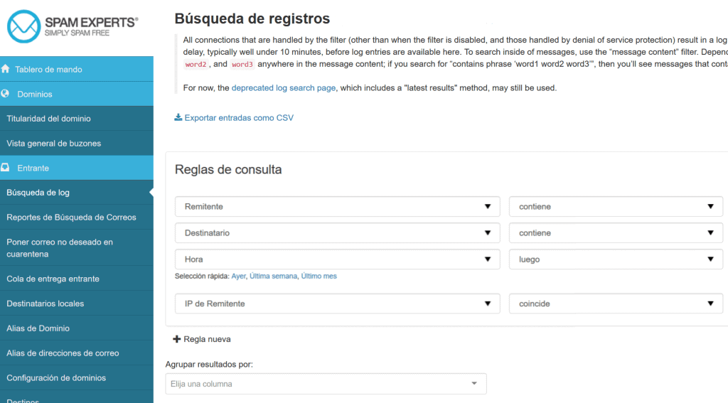 SpamExperts búsqueda de registros