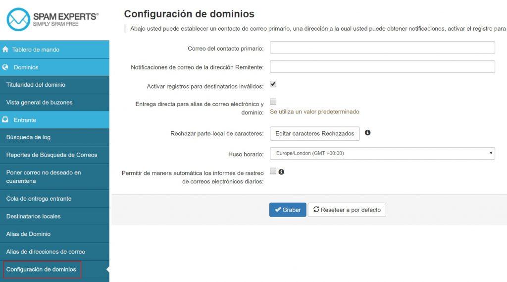 Spamexperts configuración de dominios