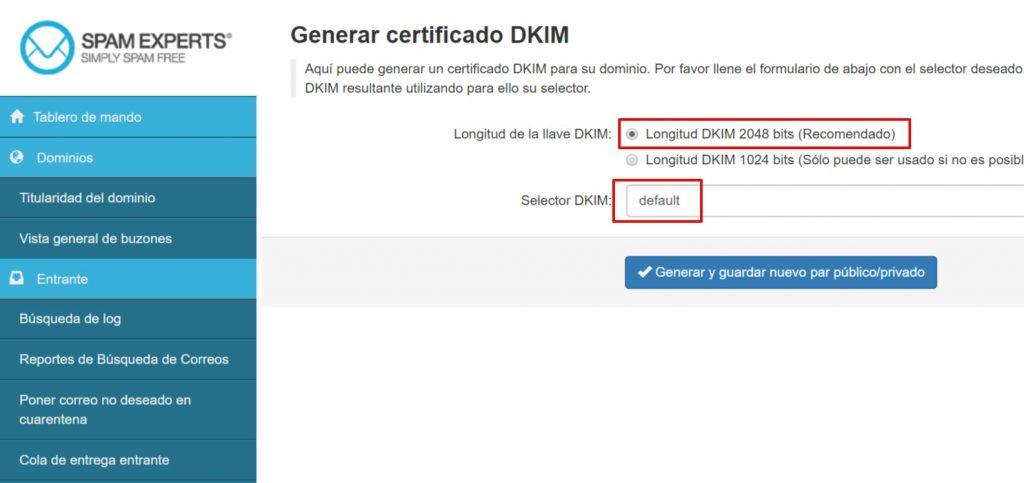 SpamExperts generar certificado DKIM