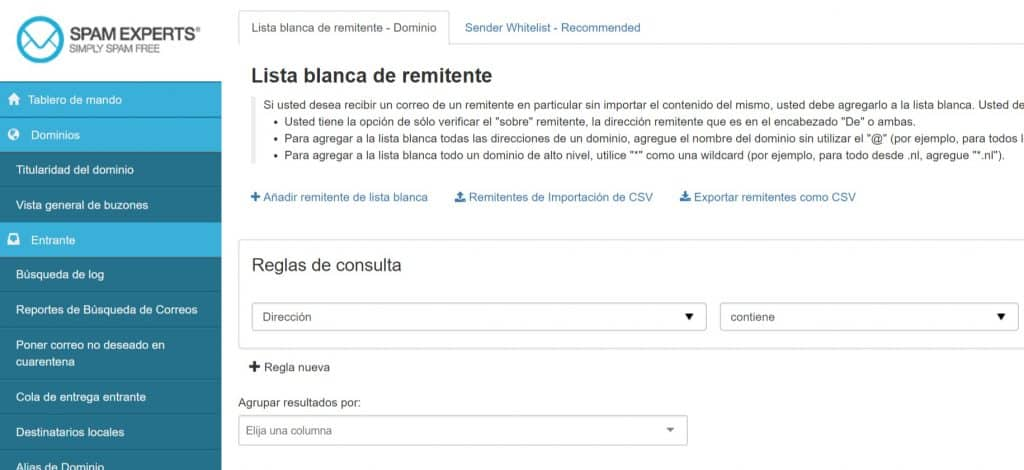 SpamExperts lista blanca de remitente