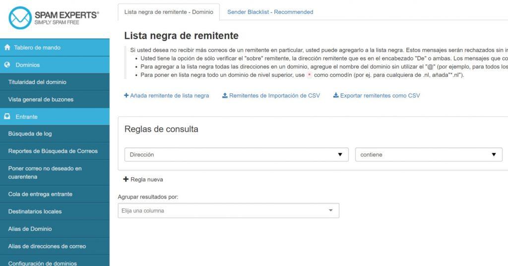 SpamExperts lista negra de remitente