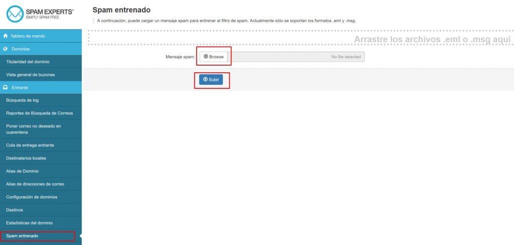 SpamExperts Spam Entrenado