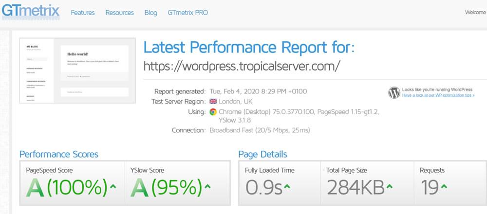 Test Velocidad GTmetrix WordPress