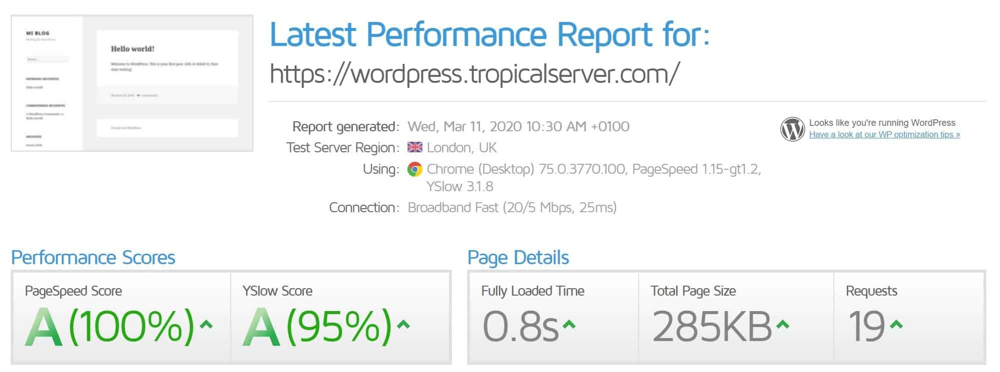 GTmetrix wordpress.tropicalserver.com